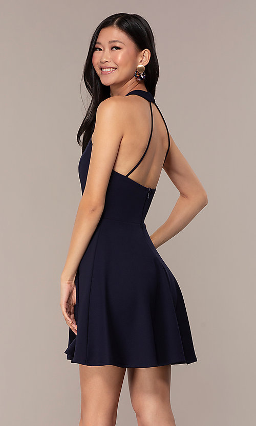 Image of short navy blue wedding-guest dress by Simply. Style: MCR-SD-2567 Back Image