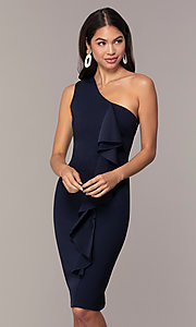 Image of navy short one-shoulder wedding-guest dress by Simply. Style: MCR-SD-2513 Front Image