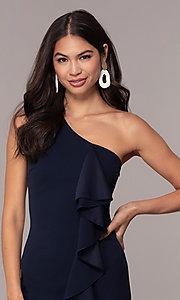 Image of navy short one-shoulder wedding-guest dress by Simply. Style: MCR-SD-2513 Detail Image 1