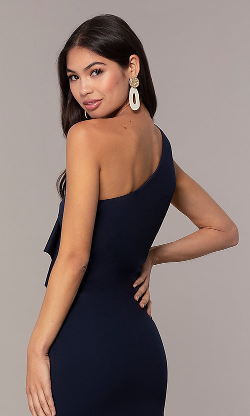 Image of navy short one-shoulder wedding-guest dress by Simply. Style: MCR-SD-2513 Detail Image 2