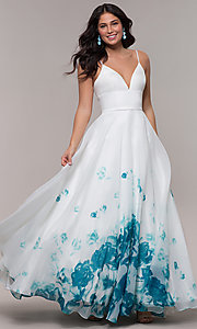 Image of v-neck floral-print long ball gown by PromGirl. Style: BL-FL-PL-190501-1 Detail Image 1