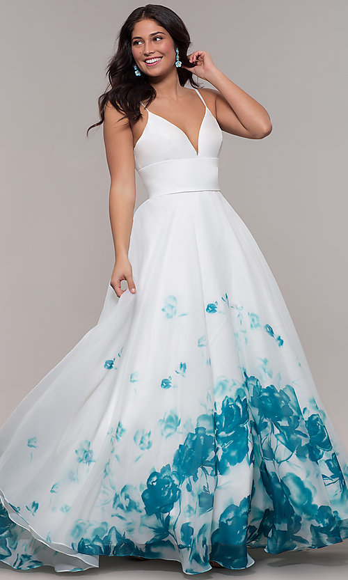 Image of v-neck floral-print long ball gown by PromGirl. Style: BL-FL-PL-190501-1 Front Image
