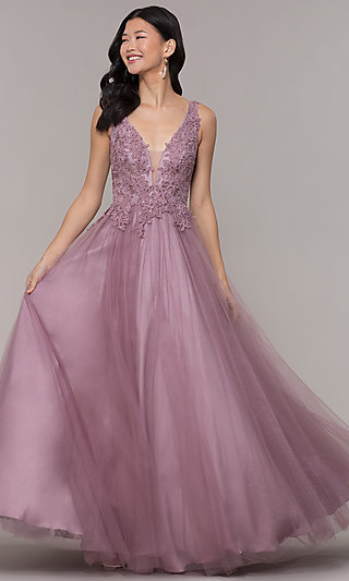 Ball-Gown-Style Long Embellished-Bodice Prom Dress