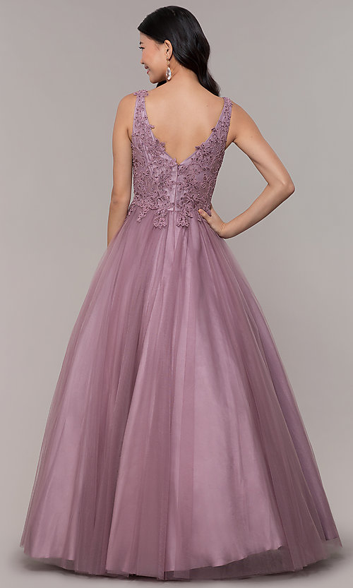 Image of ball-gown-style long embellished-bodice prom dress. Style: BL-FL-PL-19052-1 Back Image