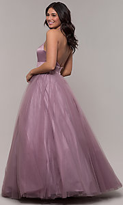 Image of long dusty mauve halter prom gown by PromGirl. Style: BL-FL-PL-19054-1 Back Image