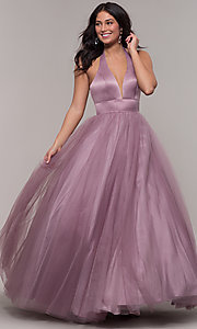 Image of long dusty mauve halter prom gown by PromGirl. Style: BL-FL-PL-19054-1 Detail Image 3