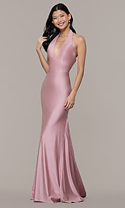 Image of long deep-v-neck halter prom dress by PromGirl. Style: BL-PL-19143 Front Image
