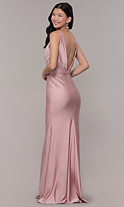 Image of long faux-wrap ruched v-neck prom dress by PromGirl. Style: BL-PL-19300 Back Image