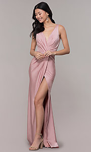 Image of long faux-wrap ruched v-neck prom dress by PromGirl. Style: BL-PL-19300 Detail Image 3