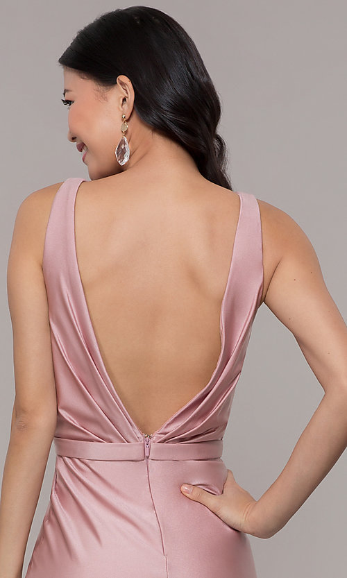 Image of long faux-wrap ruched v-neck prom dress by PromGirl. Style: BL-PL-19300 Detail Image 2