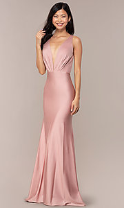 Image of long vintage-inspired v-neck prom dress by PromGirl. Style: BL-PL-19301 Detail Image 4