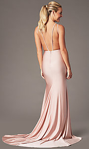 Image of long vintage-inspired v-neck prom dress by PromGirl. Style: BL-PL-19301 Back Image