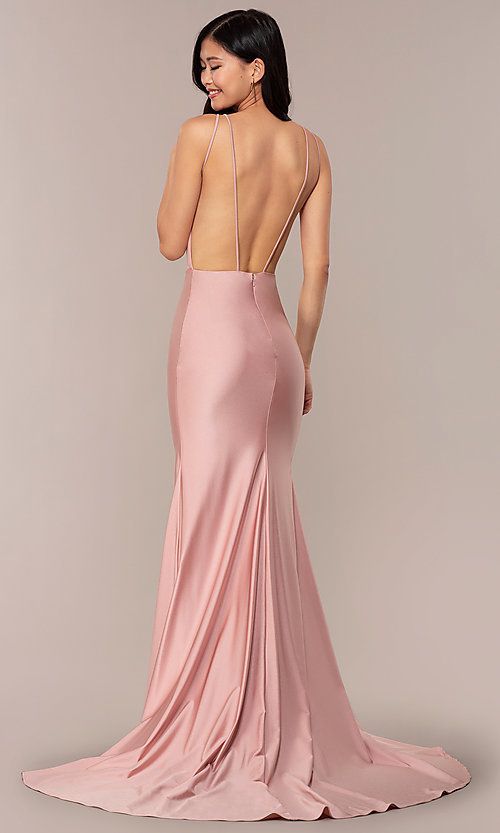Image of long vintage-inspired v-neck prom dress by PromGirl. Style: BL-PL-19301 Detail Image 5