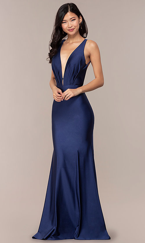 Image of long vintage-inspired v-neck prom dress by PromGirl. Style: BL-PL-19301 Front Image
