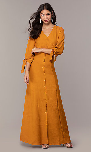 Long Button-Down Wedding Guest Dress with Sleeves