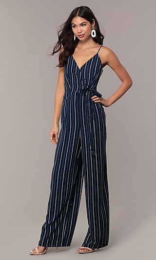 Blue Striped Jumpsuit with a V-Neck