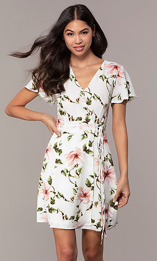 Short V-Neck Print Wedding Guest Dress with Sleeves