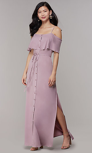 Maxi-Length Off Shoulder Wedding Guest Dress