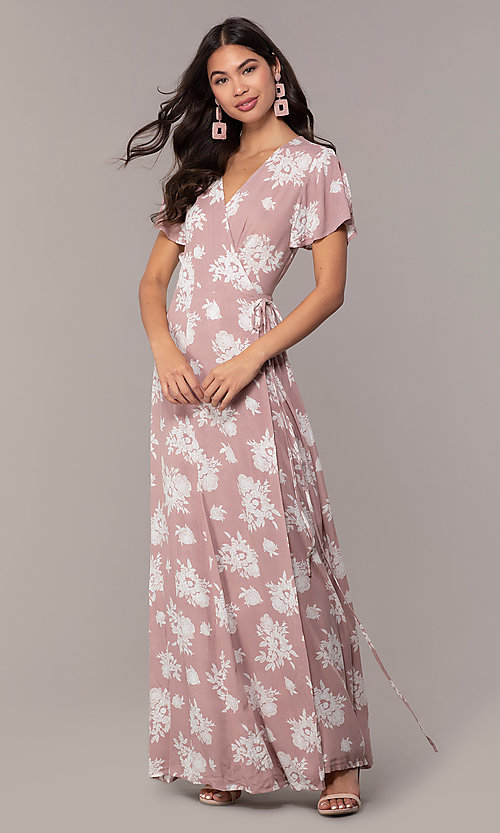 Long Print Wedding Guest Wrap Dress With Sleeves