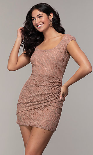 Short Mock-Wrap Lace Wedding-Guest Dress