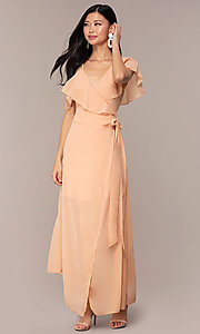 Image of long chiffon asymmetrical wrap wedding-guest dress. Style: FAN-AKD0023 Front Image