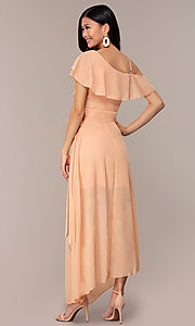 Image of long chiffon asymmetrical wrap wedding-guest dress. Style: FAN-AKD0023 Detail Image 5