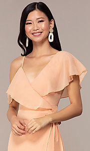 Image of long chiffon asymmetrical wrap wedding-guest dress. Style: FAN-AKD0023 Detail Image 1