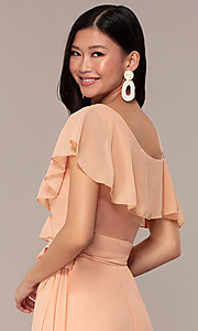 Image of long chiffon asymmetrical wrap wedding-guest dress. Style: FAN-AKD0023 Detail Image 7