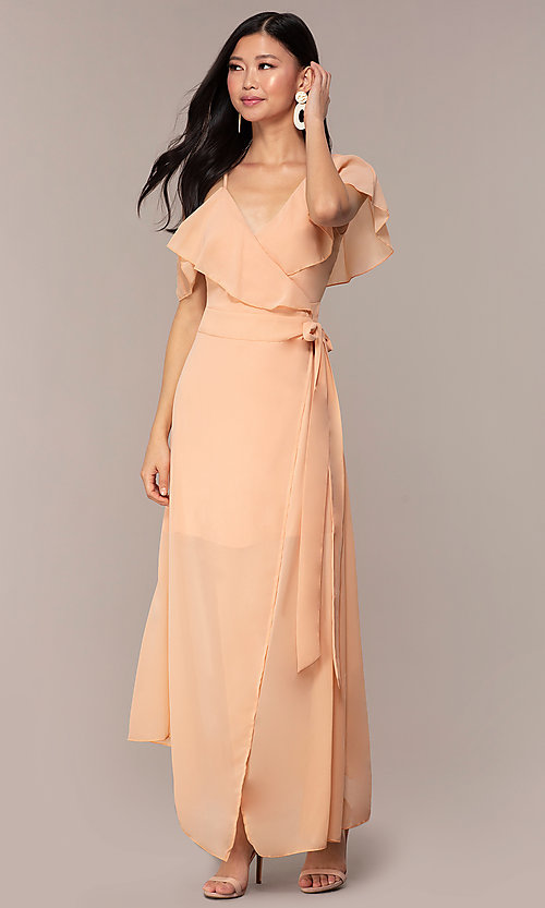 Image of long chiffon asymmetrical wrap wedding-guest dress. Style: FAN-AKD0023 Detail Image 4