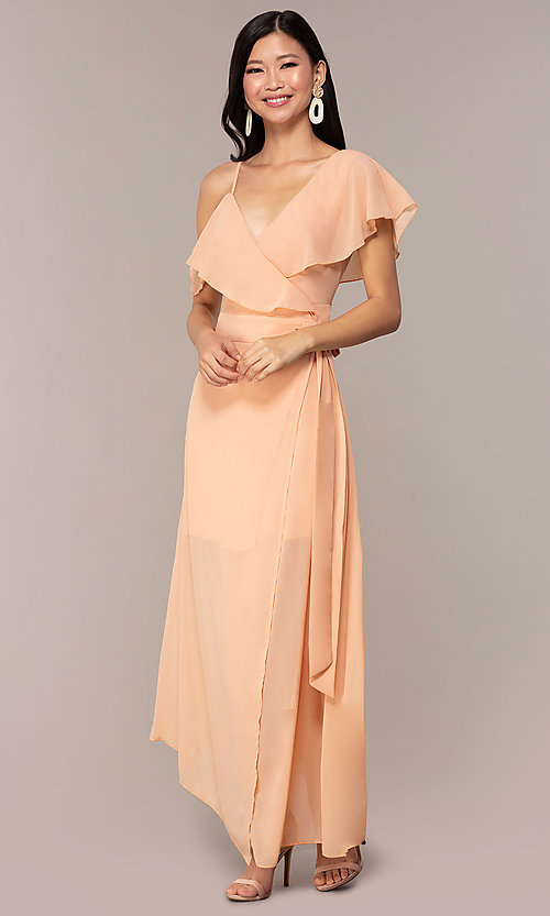 Image of long chiffon asymmetrical wrap wedding-guest dress. Style: FAN-AKD0023 Detail Image 3