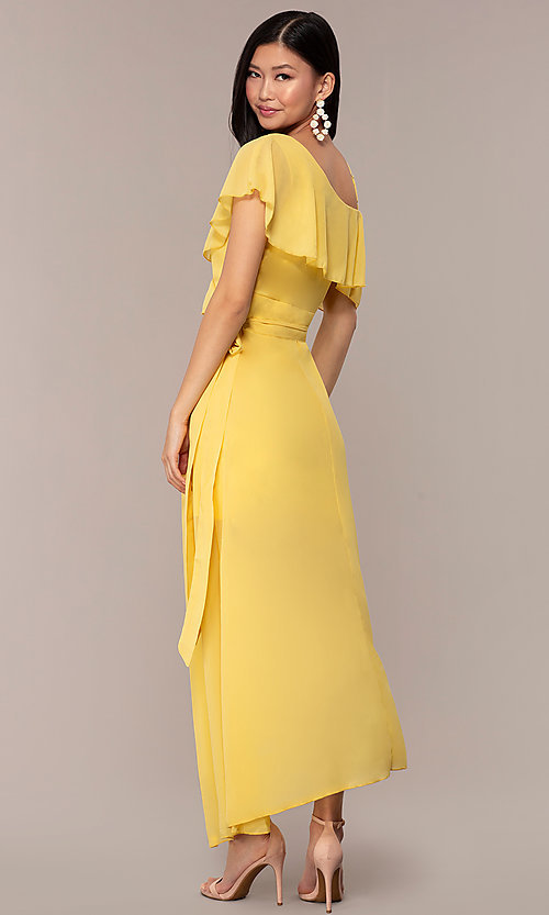 Image of long chiffon asymmetrical wrap wedding-guest dress. Style: FAN-AKD0023 Back Image