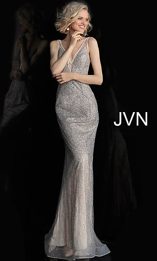 Long Glitter V-Neck Prom Dress with Illusion Edging