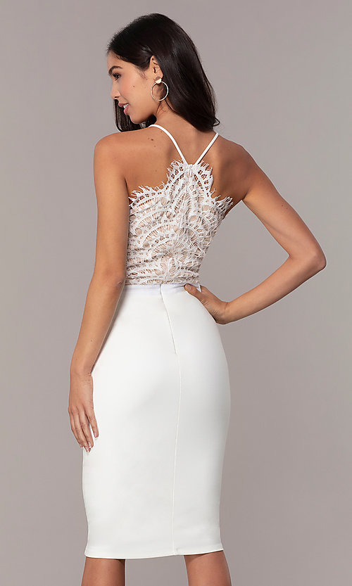 ec59a8fac1fa6 Image of short lace-bodice graduation dress by Simply. Style  JTM-SD