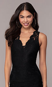 Image of black lace midi v-neck party dress by Simply. Style: JTM-SD-JMD10561 Detail Image 2
