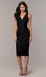 Image of black lace midi v-neck party dress by Simply. Style: JTM-SD-JMD10561 Front Image