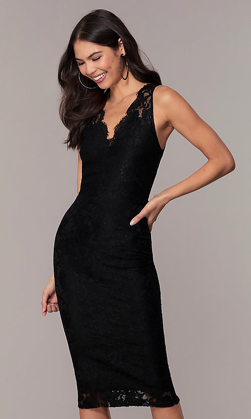 Image of black lace midi v-neck party dress by Simply. Style: JTM-SD-JMD10561 Detail Image 1