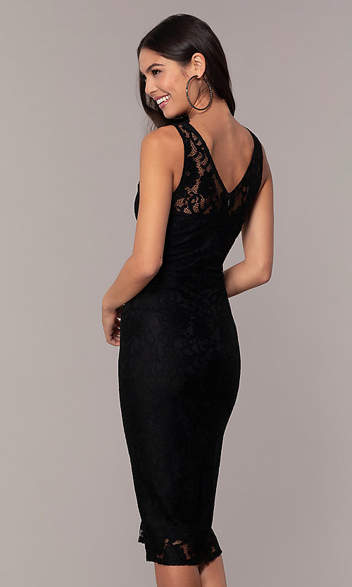 Image of black lace midi v-neck party dress by Simply. Style: JTM-SD-JMD10561 Back Image