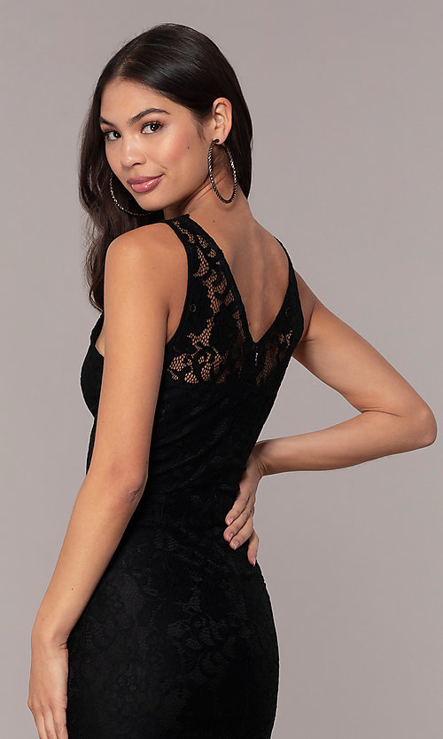 Image of black lace midi v-neck party dress by Simply. Style: JTM-SD-JMD10561 Detail Image 3