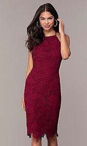 Image of short burgundy red lace wedding-guest dress by Simply. Style: JTM-SD-JMD6353 Front Image