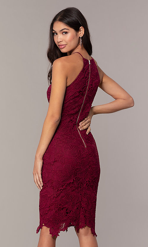 Image of short burgundy red lace wedding-guest dress by Simply. Style: JTM-SD-JMD6353 Back Image