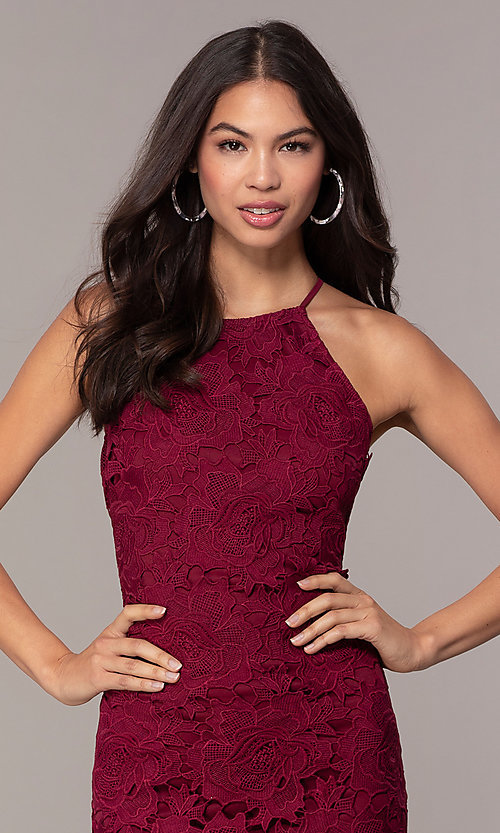 Image of short burgundy red lace wedding-guest dress by Simply. Style: JTM-SD-JMD6353 Detail Image 1