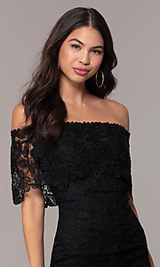 Image of off-the-shoulder black lace party dress by Simply. Style: JTM-SD-JMD7605 Detail Image 1