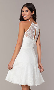 Image of short white lace graduation dress by Simply.  Style: MT-SD-9839 Back Image