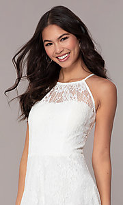 Image of short white lace graduation dress by Simply.  Style: MT-SD-9839 Detail Image 1