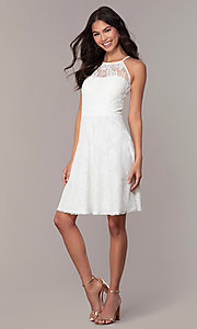 Image of short white lace graduation dress by Simply.  Style: MT-SD-9839 Detail Image 3