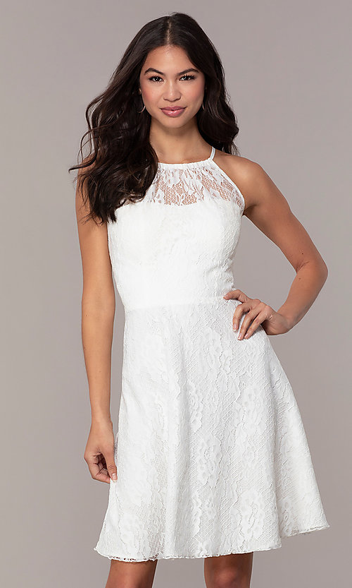 Image of short white lace graduation dress by Simply.  Style: MT-SD-9839 Front Image