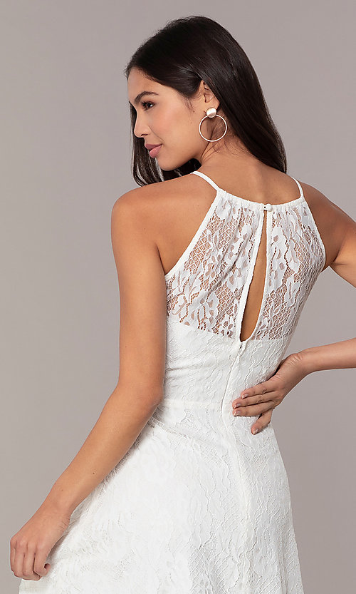 Image of short white lace graduation dress by Simply.  Style: MT-SD-9839 Detail Image 2