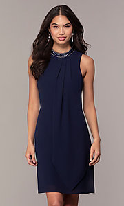 Image of sleeveless short navy wedding-guest dress by Simply. Style: MT-SD-9835 Front Image