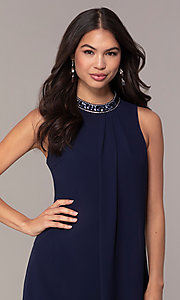 Image of sleeveless short navy wedding-guest dress by Simply. Style: MT-SD-9835 Detail Image 1