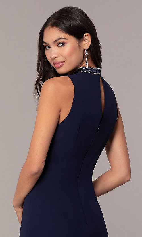 Image of sleeveless short navy wedding-guest dress by Simply. Style: MT-SD-9835 Detail Image 2